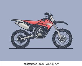 Motocross Bike. Sport Bike Flat Illustration