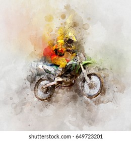 Motocross jump - watercolor paint on canvas