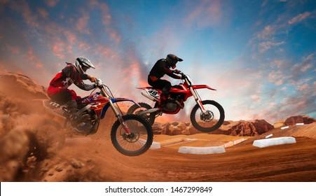 Motocross rider in action. Motocross sport.