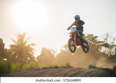 Motocross rider in action. Motocross sport