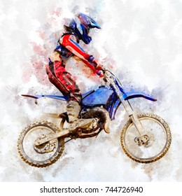 Motocross riders jump in the air - watercolor on canvas
