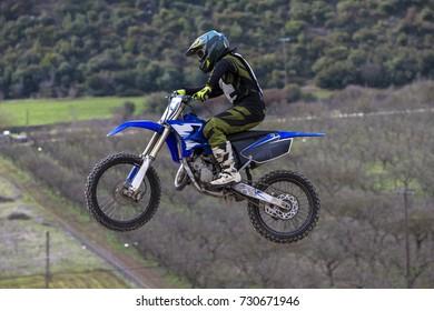 Motocross Side View Flying