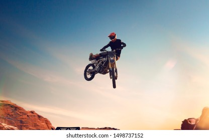Motofreestyle during sunset. Fmx. Motocross.