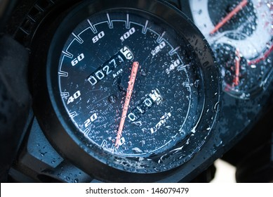 motor bike odometer with dew droplets