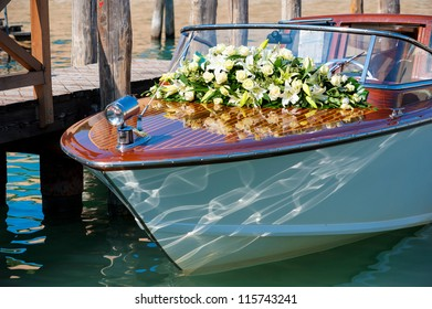 Motor boat, decorated with flowers for wedding