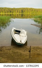 Motor boat near the shore of  lake Seliger. Russia, Tver area