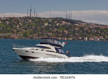 motor boat on the Bosphorus strait, Sea front landscape of Istanbul historical part, Turkey famous city.