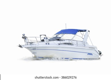 motor boat on white background