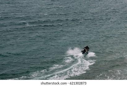 Motor boat sails on the sea