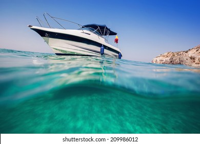 Motor boat. View from under the water.
