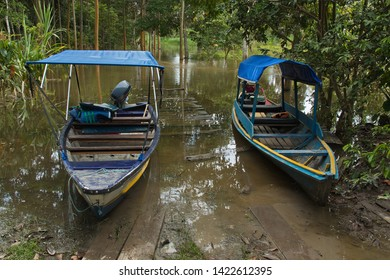 Motor boats in the village San Antonio de Cacao at Amazonas river in Peru