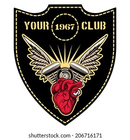 motor club emblem with winged engine template