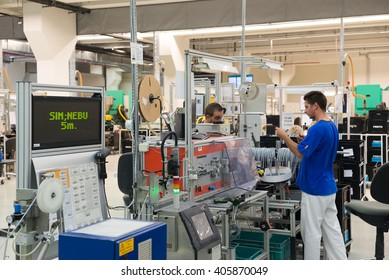 Motor driven coil and spool winder and operator for winding cables, tubes, plastic profiles and simultaneously carry out length measuring and cutting, Sofia, FESTO Bulgaria, September 11, 2015.