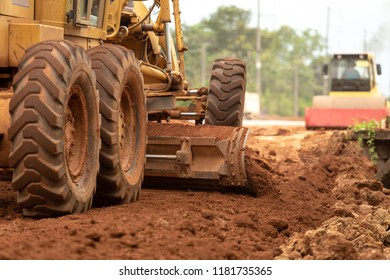 Motor Grader Civil Construction improvement base road work, Motor Grader Civil Construction