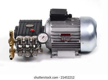 Motor and high pressure water pump group isolated on white