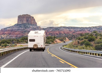 Motor home on the road. Road trip. RV camping. Left side driving