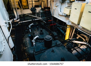 The motor of old big ship named Suur Toll in the harbor of Seaplane Harbour Lennusadam museum.