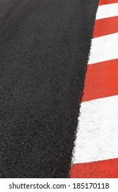 Motor race asphalt and curb on Monaco Montecarlo Grand Prix street circuit
