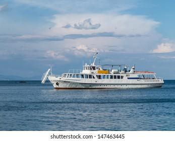 Motor vessel on the open sea