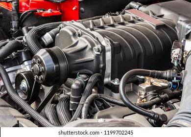 Motor of a vintage old-timer car