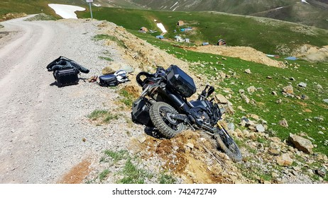 Motorbike crash in the Turkey mountains in the summer.
