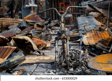 Motorbike debris from the fire accident.