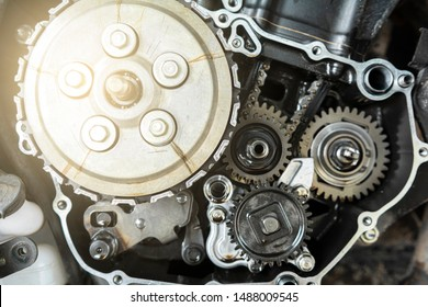 motorbike engine parts with wear and tear
