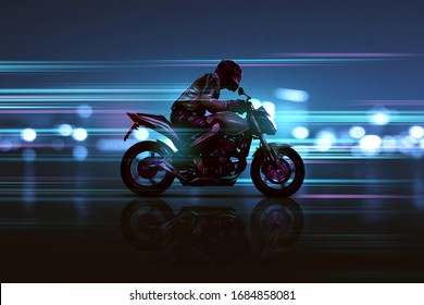 Motorbike with futuristic lighting effects