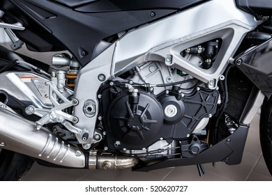 Motorbike into deep, details of motorcycle