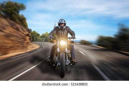 Motorbike on asphalt road