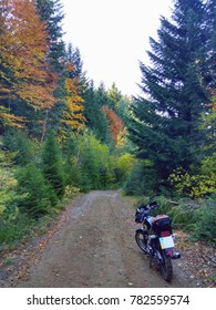 Motorbike on the side of the dirt road in the beautiful colorful autumn forest in Carpathians mountains, Ukraine. Autumn forest road landscape