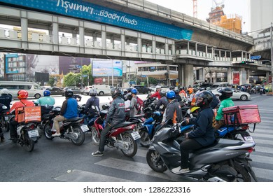 motorbike trafic at Sukhumvit in the city of Bangkok in Thailand in Southeastasia.  Thailand, Bangkok, November, 2018