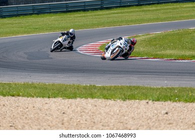 Motorbike training on a racetrack