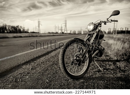 MotorbikeRoad and city with
