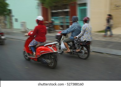 Motorbikes compete in heavy traffic of Saigon (Ho Chi Minh City),  Vietnam