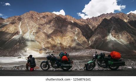 Motorbikes in mountains. Motor travel in India, Himalaya