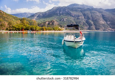 Motorboat against Oludeniz, Oludeniz is one of the most famous beach in Turkey