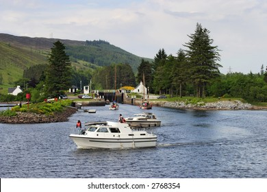 Motorboat at the Caledonian canal, Scotland.