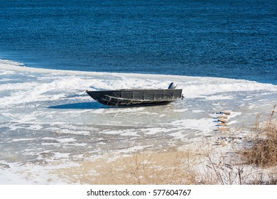 Motorboat on ice