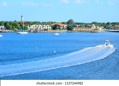 Motorboat on Matanzas Bay, Saint Augustine, Florida on a Summer Day