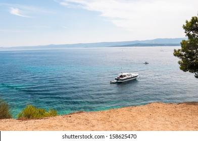 Motorboat on a sea near town of Bol, Brac Island