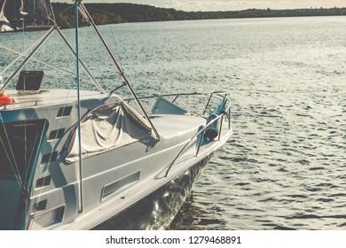 Motorboat at sunset in Brazil. Speedboat