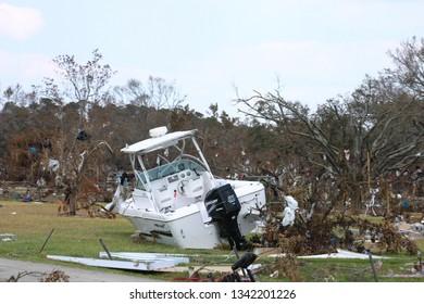 Motorboat thrown onto land by Hurricane Katrina. Taken near Biloxi, MS on September 9, 2005.