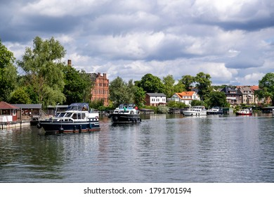 motorboats on Lake Malchow in the Mecklenburg Lake District, Germany