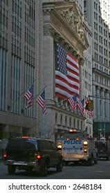 Motorcade passes By New York Stock Exchange