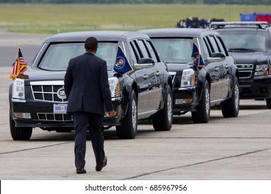 The motorcade for President Donald Trump awaits his arrival in Ronkonkoma, NY, Friday, July 28, 2017.