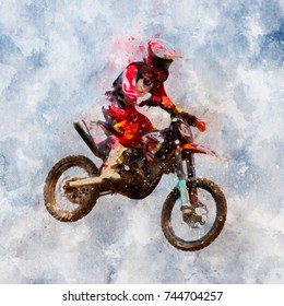 Motorcross riders jump in the air - watercolor on canvas