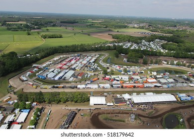 Motorcross in Valkenswaard Nederland on 04-06-2015. This motor cross event, was in a track on extreme outdoor bikers. Unique drone aerial footage.