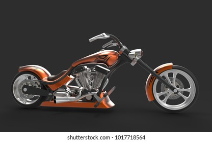 Motorcycle. 3D rendering.
