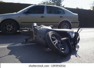 Motorcycle accident, crash at sunny day. Motorcycle crash concept.